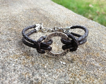 Rustic Men's Sterling and Latigo Bracelet