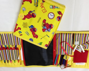 Elmo Print Art Tote complete with chalkboard, chalk, eraser, paper pad, pencil, crayons, and colored pencils
