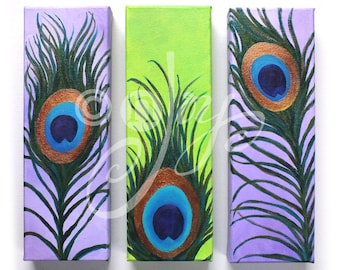 THREE PEACOCK FEATHERS No.3, Whimsical art for home and office, Set of 3, 4x12 canvases