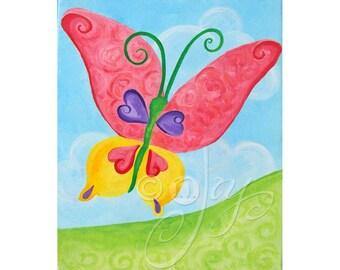 Baby Girl Nursery Art, BIG BUTTERFLY, 11x14 Childrens Wall Art, Original Nursery Art
