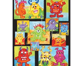 """Monster Children's Wall Art Print - Monster Wall Decor for Kids - 16""""x20"""""""