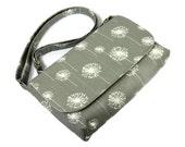 Small Cross Body Purse, Mini Messenger Bag, Fabric Handbag, Small Shoulder Bag, Pocketbook, White Dandelions on Gray, Small Handmade Purse
