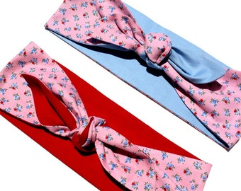 Vintage Inspired Head Scarf, Pink Vintage Floral, Blue or Red Reversable, Rockabilly