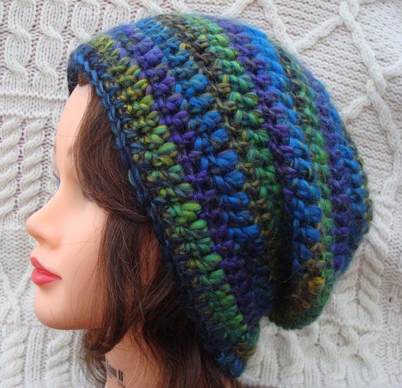 Adult Crochet Slouch Hat Blue Chunky Multicolour Hat Women Made in Ireland