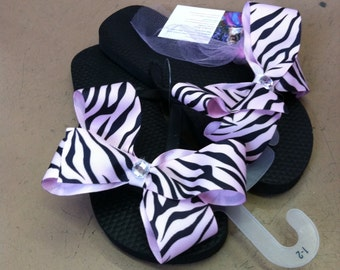 Light Pink Zebra Flip Flops