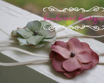 Vintage flower headband for newborn photography props baby headbands with  skinny stretch elastic, green flower headband, rose headband