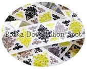 Winter Damask Glitter ribbon 5 yards- 7/8 inch Yellow, Charcoal Grey, Black Sparkle US Designer grosgrain ribbon