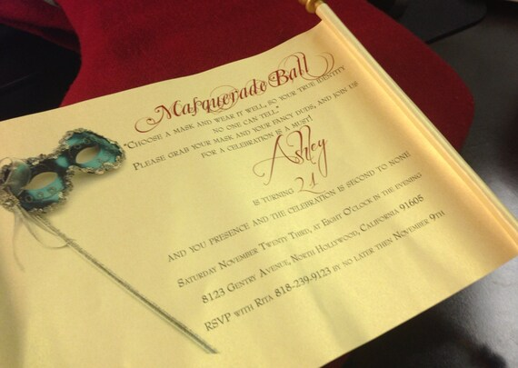 Masquerade Wedding Invitations: Masquerade Ball Invitation Scroll Scroll Invitation