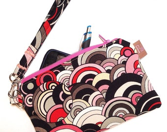 Wristlet, Clutch, Cell Phone Case, Abstract Multi Color Circles Print