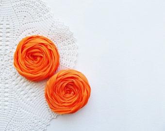 Orange Fabric Roses Handmade Appliques Embellishment Set of 2