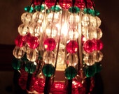 Night Light Shade, Beaded, Christmas, Holiday, Holiday Decor, Christmas Decor, Home Decor, Night Light, Lighting, Red, Clear, Green