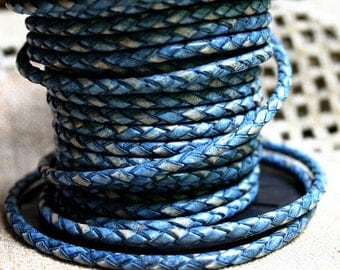 1 meter of 3mm Natural Blue  Braided Bolo Leather Cord