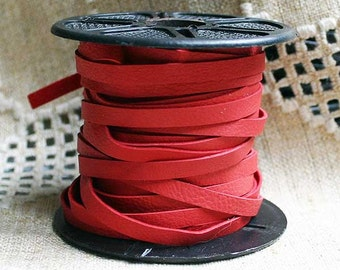 2 Yards 3mm Cord Deertan Leather 1/8-inch Soft Red Lace