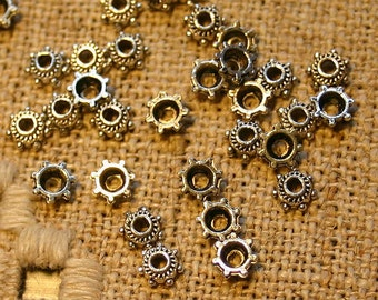 100pcs Antiqued Silver Plated Pewter Bead Cap 5x2mm Star For 4-6mm Bead