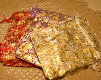 12pcs Organza Gift Pouch Jewelry Bags 4.75in Gold Roses