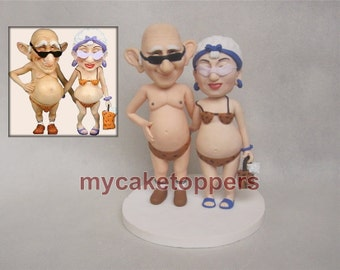 Custom wedding Cake toppers bride and groom cartoon