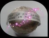 The Killers / Brandon Flowers Quote Bracelet - Handstamped Alluminium - Open up my eager eyes 'cause I'm Mr Brightside - Mr Brightside