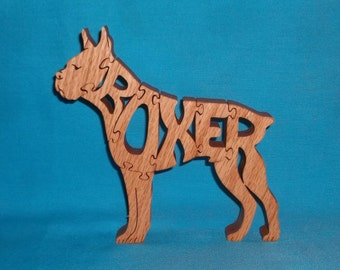 Boxer Dog Breed Handmade Scroll Saw Wooden Puzzle