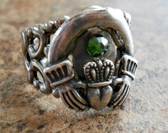 The ORIGINAL Irish Claddagh Adjustable Sterling Silver Plated Filigree Ring, Exclusive Design Only by Enchanted Lockets