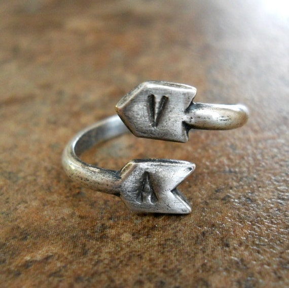 Personalized Arrow Ring in Antiqued Silver or Antiqued Brass, Choose Your Font