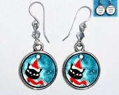 Christmas Black Cat Acrylic Painting Art Earrings, Round Photo & Resin Charms Earrings - Personalized Double Sided