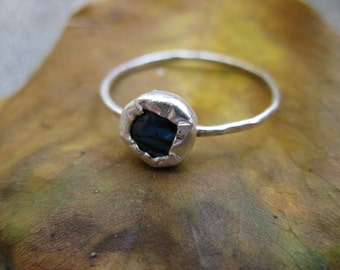 Abalone Shell  Silver Stacking Ring