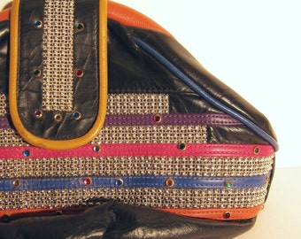 Vintage 1980s Leather Bag with Studs and Beads / 80s Colorful Leather Bag