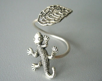 Silver lizard ring, gecko ring, adjustable ring, animal ring, silver ring, statement ring