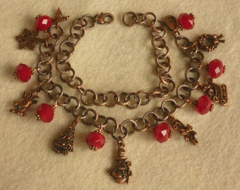 Candy Red and Copper Convertible Christmas Charm Bracelet or Choker
