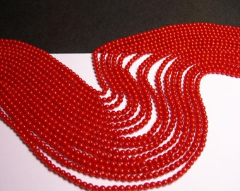 Coral red -  3mm - (3.3mm)  round bead - 1 full strand -  AA quality -  125 beads