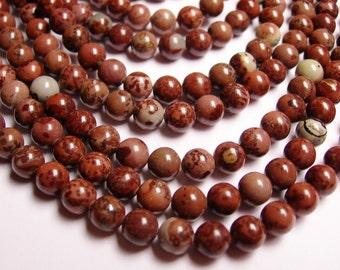 Flower Jasper - 6mm round beads -1 full strand - 63 beads - NRG173