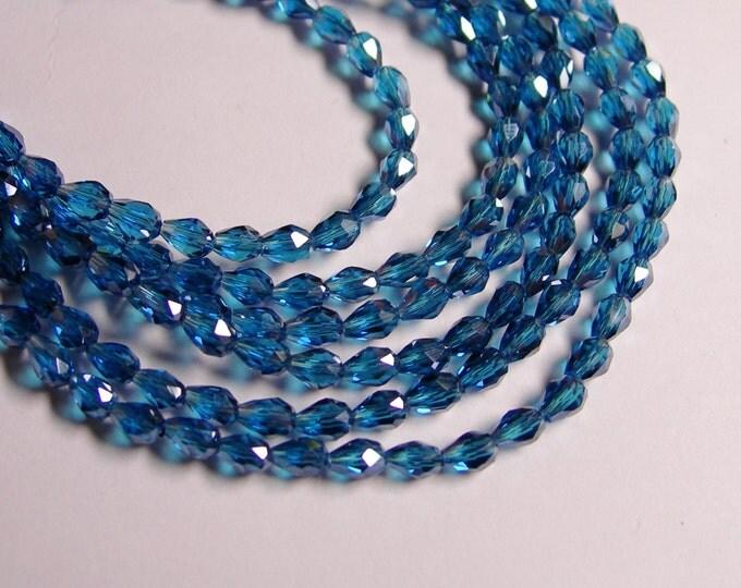 Faceted teardrop crystal beads - 100 pcs - 3mm x 5mm - sparkle dark aqua  - CLGD13