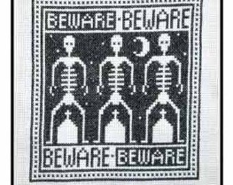PDF E pattern emailed Primitive Halloween Cross Stitch Pattern Sampler Design 130