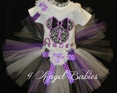 Girls Birthday Tutu Outfit Purple & Black MINNIE MOUSE Inspired Princess 3 Piece Includes TuTu, Hairpiece, and Top FREE Name, number, colors