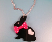 FANCY HOPPER-Laser Cut Acrylic Black Bunny Necklace