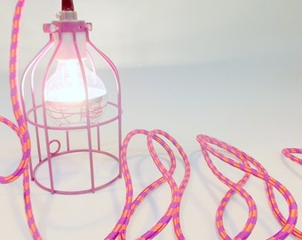 Raspberry  Industrial Hanging Cage Lamp Light with Antique Style Edison Bulb