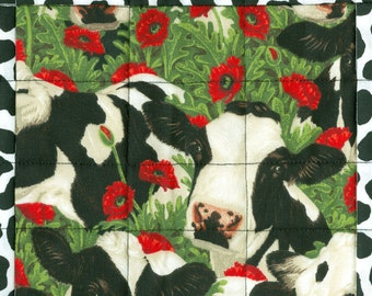 Dairy Cow Poppy Table Runner, handmade OOAK farm quilted, 16 x 47