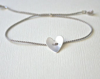 Gray silver silk thread bracelet with brushed Sterling Silver heart - adjustable