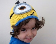 Minion Hats -Crochet Baby Yellow Minion Hat-halloween costume-twins-adult-One Eyed Minion hat- for Baby or Toddler-baby halloween outfits