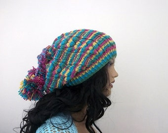 Colorful Knitting Hat or cowl,scarf-Pon pon hat-Neck Warmer