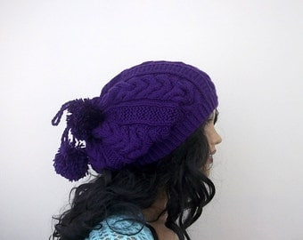 Purple Knitting Hat,Pon pon hat or cowl,scarf-multipurpose-Neck warmer