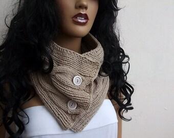 UNISEX Beige cowl / neck warmer / hand knit neck warmers