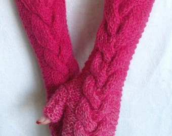 Fingerless Mittens Gloves Cabled Arm Hand Warmers in Fuchsia/ Peony Warm and Thick