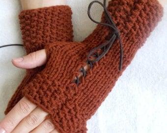 Knit Copper Brown Fingerless Corset Gloves Wrist  Warmers Women Fashion