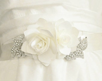 Luxury wedding sash with silk gardenia flowers, rhinestone leaves, ribbon tie