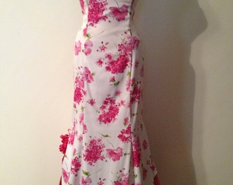 Misses Size 6 White and Pink Floral Sweet Sixteen - Prom - Bridesmaid - Southern Bell Princess Formal Dress