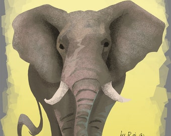 Gray and Yellow Happy Elephant print 5 by 7 inches