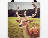 Woodland Deer Tote Bag - antlers, market tote, book bag, accessories, animal, moss green