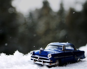 nursery kids decor toy cars vintage classic modern snow white winter blue titanium pine - Crestline -  Fine Art Photography Print