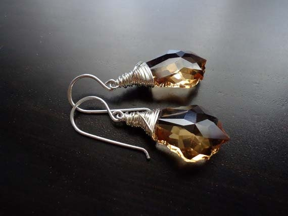 Light Colorado Topaz Baroque Swarovski Crystal Drop Earrings